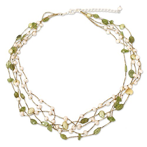 NOVICA Peridot Dyed Cultured Freshwater Pearl Beaded Necklace, 17.25