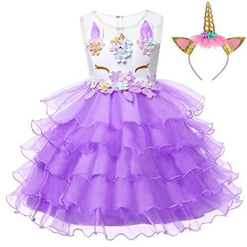 LZH Girls Unicorn Costume Dress Flower Princess Birthday Party Pageant Dress with Hairband]()