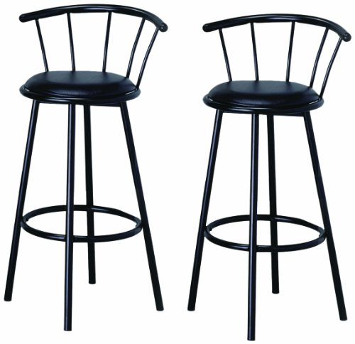 Crown Mark 4077 Swivel Bar Chair, Black, 2 Per Box -