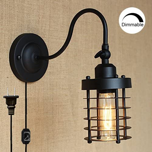 Stglighting Dimmable Wall Socket Plug In Wall Sconce Lighting For Living Room With On Off Switch Cord Bulb Included B Type