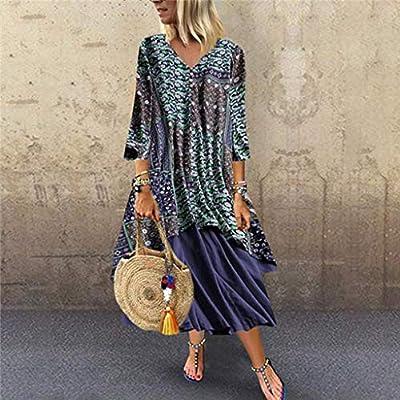 Women Vintage Floral Print O-Neck Patchwork Dress Long Sleeve Long Dress