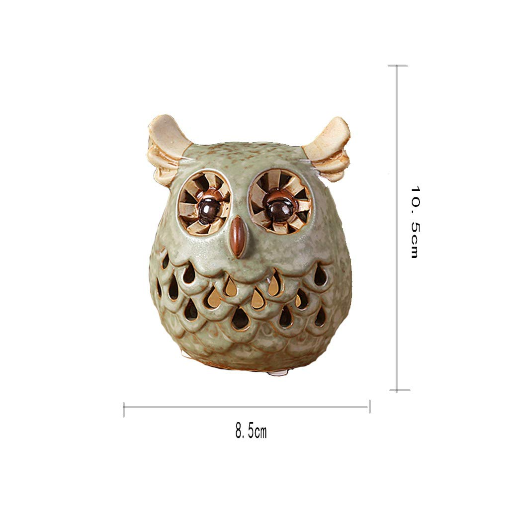 Ornaments for Home-Ceramic Creative Owl Candle Holder Decoration Indoor Home Ceramic Decoration Decoration Gift (Size : A)