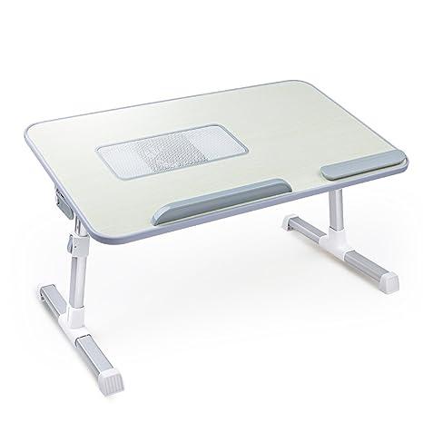 Escritorio Plegable para Ordenador portátil con Altura y ángulo Ajustables, Mesa de Cama con Ventilador