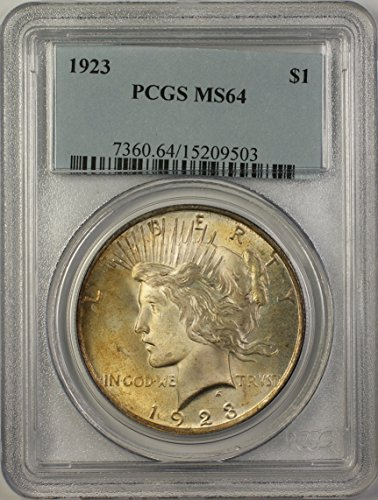 1923 Peace Silver Dollar Coin (ABR15-D) Toned Better Coin $1 MS-64 PCGS