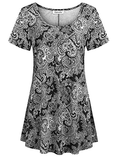 Ouncuty Plus Size Women Tunic Tops,Petite Cute Fashion Morden Sexy Collar High Waist Shirred Aesthetic Hem Flower Print Scrub Comfort Spandex Loose Fit Valentines Long Outfit Tops Black Oversized 2XL - Cotton Print Empire Top