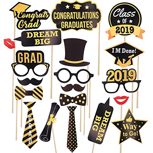 2019 Graduation Photo Booth Props(Large-20 Pcs) Real Gold Glittery Graduation Decorations Photo Props for Graduation Party,Class of 2019 Prom Graduation Party Supplies For Grad Celebration -
