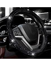 """Valleycomfy Steering Wheel Cover for Women Men Bling Bling Crystal Diamond Sparkling Car SUV Wheel Protector Universal Fit 15 Inch (Black with Black Diamond, Standard Size(14"""" 1/2-15"""" 1/4))"""