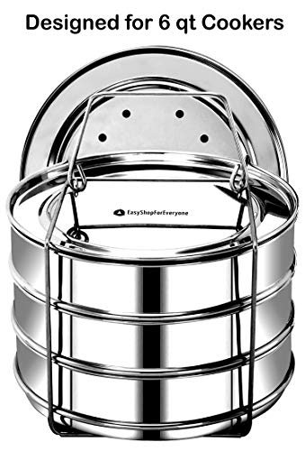 (EasyShopForEveryone 3 Tier Stackable Steamer Insert Pans, Stainless Accessories - 6, 8 Qt Pressure Cooker, Compatible with Instant Pot in Pot, Baking, Lasagna Pans, Cook 3 Dishes at a time)