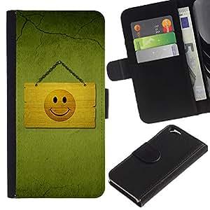 A-type (Hapy Smiley Área) Colorida Impresión Funda Cuero Monedero Caja Bolsa Cubierta Caja Piel Card Slots Para Apple (4.7 inches!!!) iPhone 6 / 6S