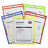 C-Line Neon Stitched Shop Ticket Holders, Assorted Neon Colors, 9 x 12 Inches, 25 per Box (43910)