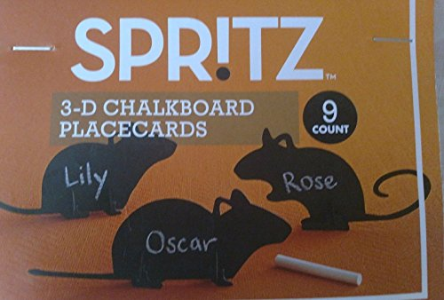 HALLOWEEN BLACK RATS 3-D CHALKBOARD SELF-STANDING PLACE CARDS