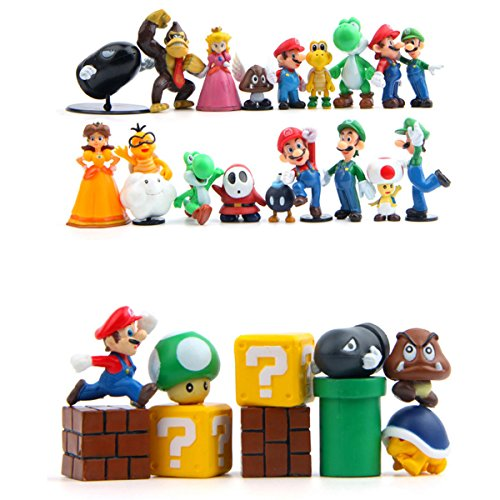 - 28 Piece Super Mario Bros Super Mary Princess, Turtle, Mushroom, Orangutan , Super Mario Action Figures, 2