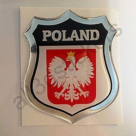 All3dstickers Aufkleber Polen Wappen Kfz Aufkleber Polen Emblem Gedomt Flagge 3d Fahne Auto