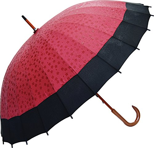 Price comparison product image Japanese Umbrella -Cherry Blossoms Appear by Rain- Red / Pink / Violet
