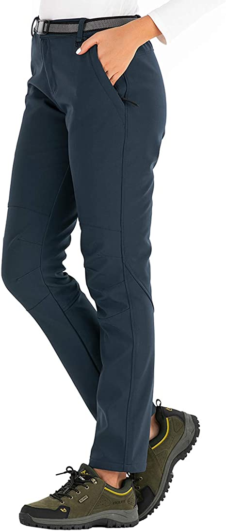 DAFENP Pantaloni Trekking Donna Invernali Impermeabile Pantaloni Sci Termici Softshell Pantaloni Neve Montagna Escursionismo Caldo All'aperto