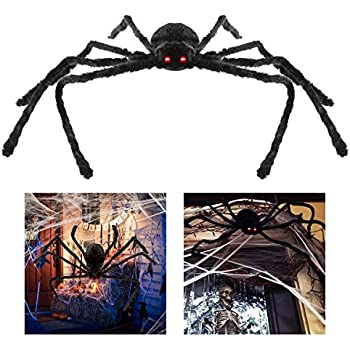 bestomz giant halloween spider 125cm with led eyes spooky sound foldable outdoor spider decorations - Halloween Spider Decorations