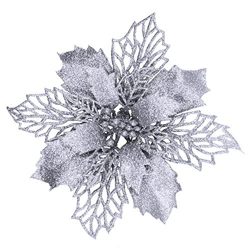 24 Pcs Christmas Silver Glittered Mesh Holly Leaf Artificial Poinsettia Flowers Picks Tree Ornaments 5.9″ W for Silver Christmas Tree Wreath Garland Floral Gift Winter Wedding Holiday Decoration
