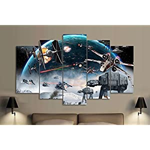 5PCS Framed Starwars Battle Canvas Prints – 5 Piece Canvas Star Wars Artwork Canvas Star Wars Battle Paintings on Canvas Wall Art for Office and Home Wall Decor