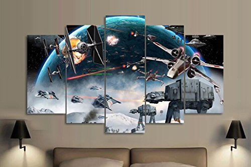 5PCS Framed Starwars Battle Canvas Prints - 5 Piece Canvas Star Wars Artwork Canvas Star Wars Battle Paintings on Canvas Wall Art for Office and Home Wall Decor (Star Wars Battle 5 Piece Canvas Painting)