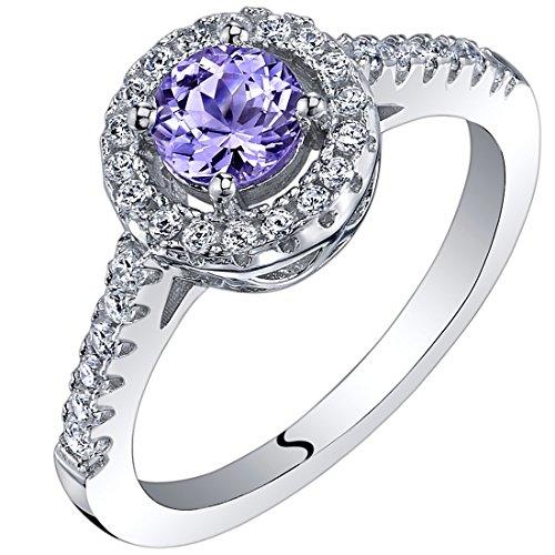 Peora 0.50 Carat Tanzanite Halo Ring Sterling Silver Size 8