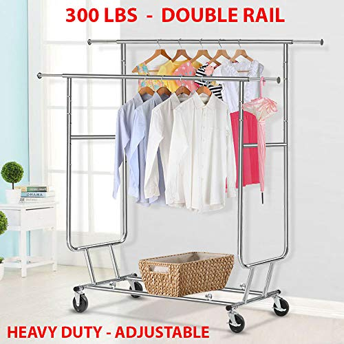 300 Lbs Heavy Duty - Adjustable Rolling Clothing Garment Rack Commercial Grade Steel Extendable Hanger Drying Organizer Chrome Finish Storage Shelf With Wheels Suitable Bedroom, Balcony, Yard Or Shopp