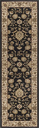 Black Transitional Rug (Gabrielle Transitional Border Black Runner Rug, 2' x 10')