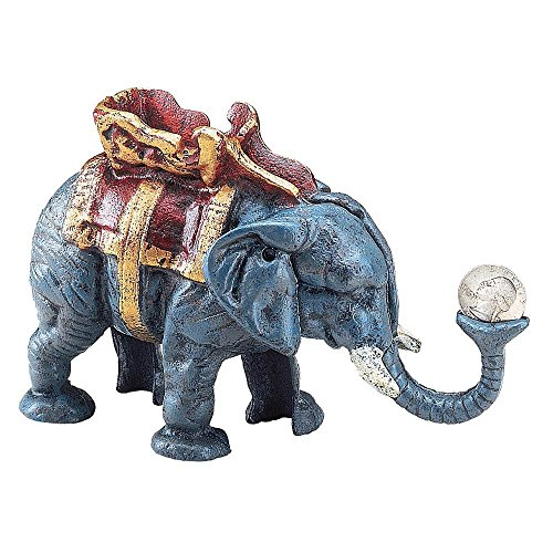 Bits and Pieces - Elephant Mechanical Coin Bank - Hand-Painted Collectible Cast Iron Bank