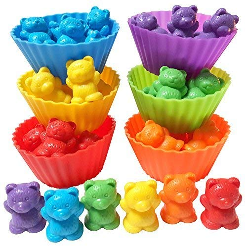 Jumbo Counting Bears with Stacking Cups - Montessori Rainbow Matching Game, Educational Toys and Color Sorting Toys for Toddlers with 54 Math Manipulatives, Toy Storage and Learning Activities eBook -