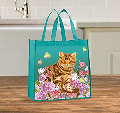 Tote Bag - Reusable Shopping Bag, Heavy Duty, Eco-Friendly Garden Cat Tote Bag, Set of 2