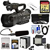 JVC GY-HM250U Ultra 4K HD 4KCAM Professional Camcorder & Top Handle Audio Unit XLR Microphone + 64GB Card + Battery + LED Video Light + Kit