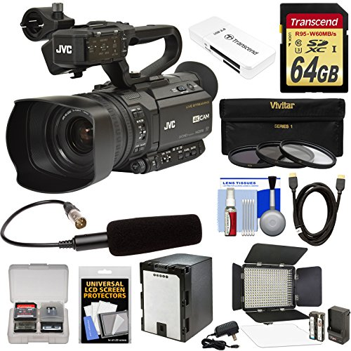 JVC GY-HM250U Ultra 4K HD 4KCAM Professional Camcorder & Top Handle Audio Unit with XLR Microphone + 64GB Card + Battery + LED Video Light + Kit
