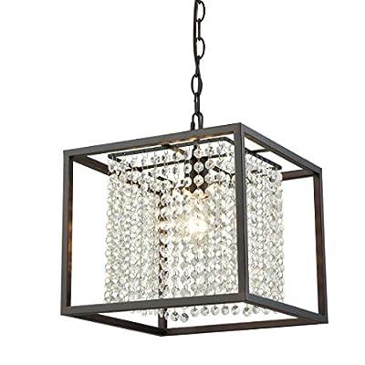 Truelite Industrial Square Rustic Hanging Pendant Lights Crystal Chandelier