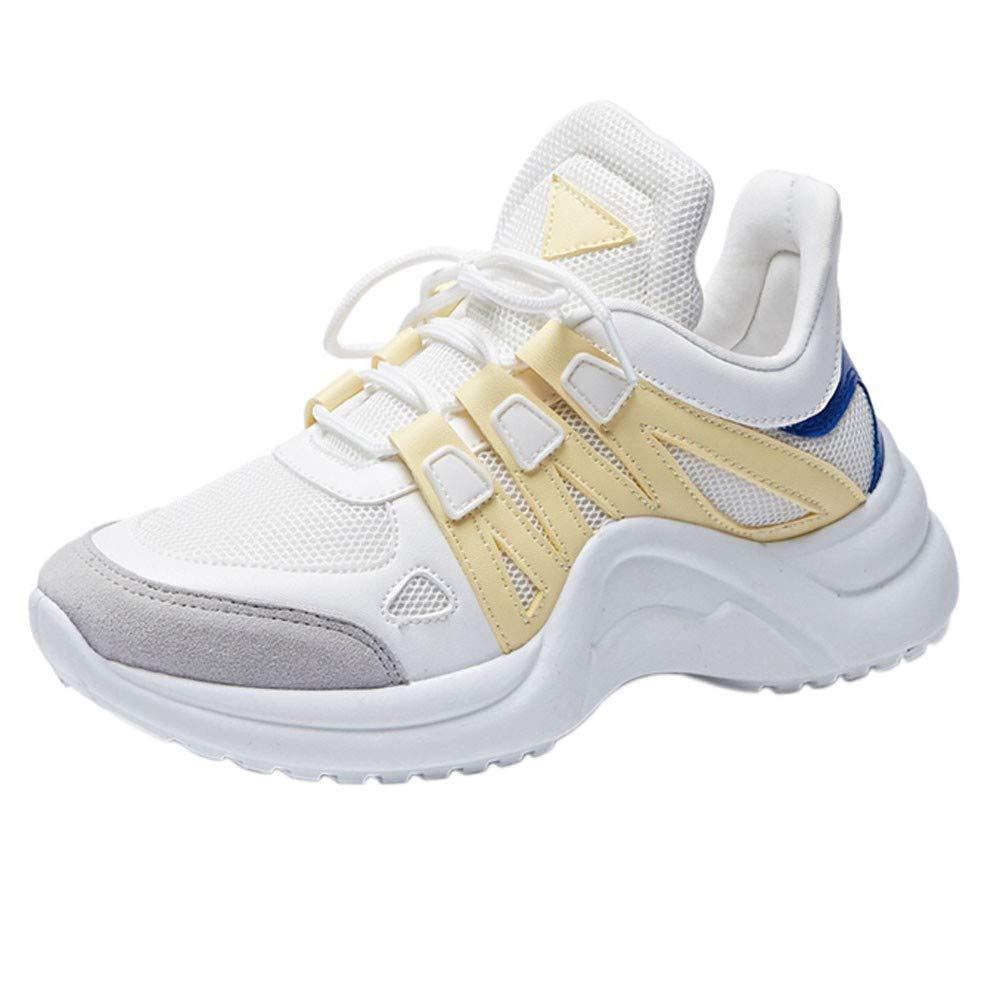 LHWY Zapatillas Mocasines de Deportes Zapatos de Malla Transpirables para Mujeres Zapatillas de Deporte de Moda con Cordones Calzados Suaves y de Ocio