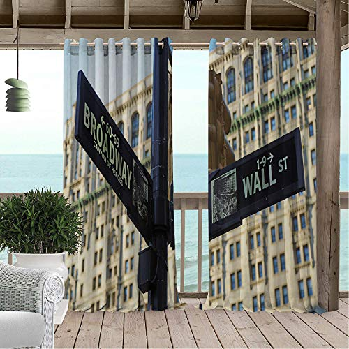 Outdoor Waterproof Curtain Broadway Street Sign in Corner Wall Famous New York City Champagne Umber Ba Blue and Charcoal Grey Porch Grommets Decor Curtain 108 by 72 inch