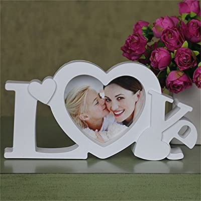 All Smiles Love Picture Frame Heart Photo Frames 4x4 for Mother Gift & Valentine Wedding