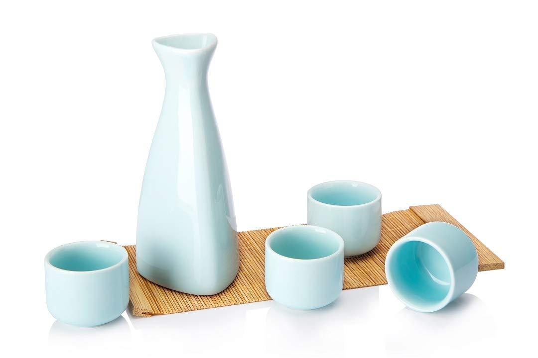 Opps Ceramic Sake Set with Bamboo Mat (Baby Blue)