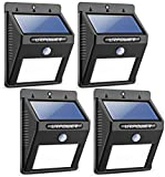 URPOWER Solar Lights 8 LED Wireless Waterproof Motion Sensor Outdoor Light for Patio, Deck, Yard, Garden with Motion Activated Auto On/Off (4-Pack)