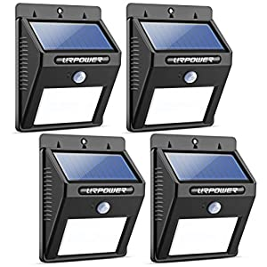 51 Gg3ZqoVL. SS300  - URPOWER Solar Lights 8 LED Wireless Waterproof Motion Sensor Outdoor Light for for Patio, Deck, Yard, Garden with Motion Activated Auto On/Off (4-Pack)