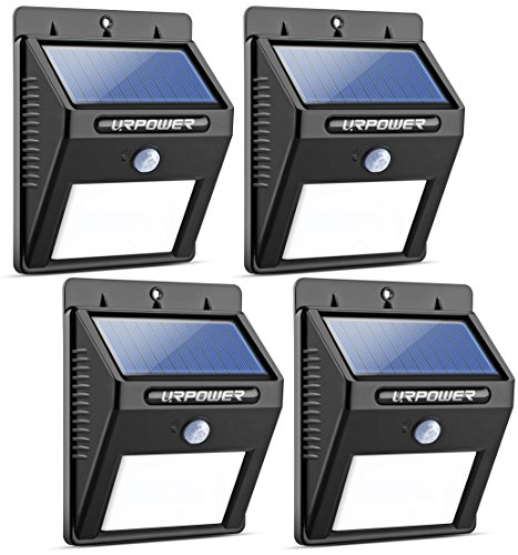URPOWER Solar Lights 8 LED Wireless Waterproof Motion Sensor Outdoor Light for Patio, Deck, Yard, Garden with Motion Activated Auto On|Off (4-Pack)