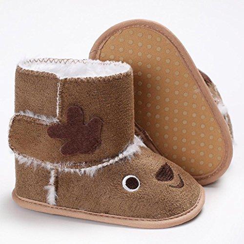 ❆HUHU833 Kinder Mode Baby Stiefel Soft Sole, Weihnachten Elch Keep Warm Schnee Stiefel, Kleinkind Stiefel Warm Schuhe (0-18 Month) Khaki