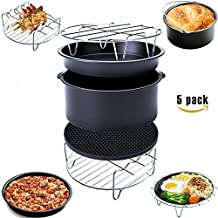 Must Have 5 Piece Air Fryer Accessories for Gowise Phillips and Cozyna, Including Cake Barrel, Pizza Pan, Metal Holder, Skewer Rack and Silicone Mat, Fit all 3.7QT - 5.3QT - 5.8QT