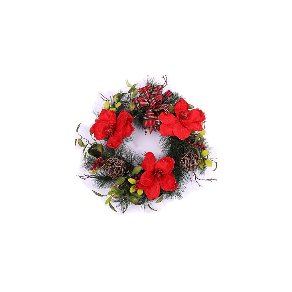 Darget-Red-Poinsettia-Wreath-20-Christmas-Artificial-Flowers-Ribbon-Bow-Berries-Floral-Holiday-Fall-Winter-Festival-Decorative-Ornament-Front-Door-Fireplace-Wall-Home-Decor-Indoor