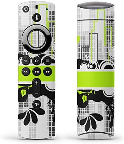 igsticker Fire TV Stick 第2世代 専用 リモコン用 全面 スキンシール フル 背面 側面 正面 ステッカー ケース 保護シール 008024 クール 黄緑 植物 蝶