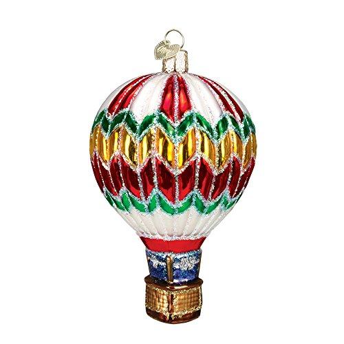 Hot Air Balloon Red, Green, and Gold Colored Glitter Glass Christmas Ornament