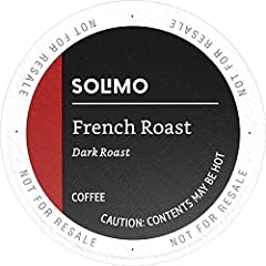 Solimo French Roast coffee k-cup pods are dark roast coffee cups with a smooth finish. Our pods are made with 100% Arabica beans and are compatible with 1.0 and 2.0 k-cup brewers. Make your cup to order with Solimo coffee pods.