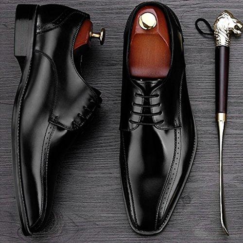 Herren Lederschuhe Herren Lederschuhe Business Formelle Kleidung klassischen britischen Stil Square Head Herrenschuhe ( Farbe : Schwarz , größe : EU42/UK7.5 )