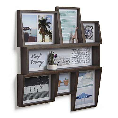 Umbra Edge, Large Wooden 4x4, 4x6, and 5X7 Collage Multi Picture Frame for Desktop or Wall, Aged Walnut, 4 by 6-Inch and 4 by 4-Inch (Frames Wall Collage)
