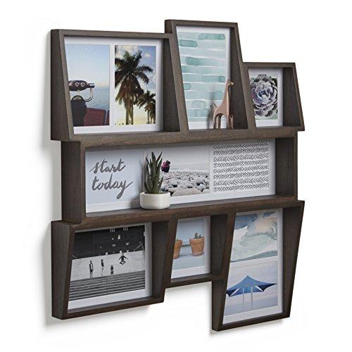 Umbra Edge 7-Opening Collage Wall Frame, Aged Walnut - Edge Photo Frame