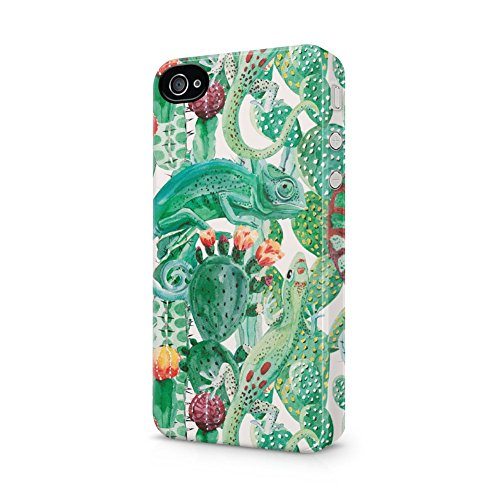 (Tropical Lizard & Cactus Pattern Apple iPhone 4, iPhone 4s Plastic Phone Protective Case Cover)