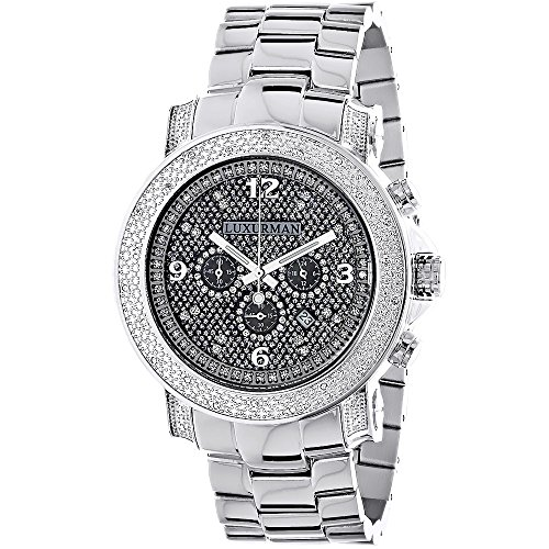(Luxurman Oversized Diamond Watches: Mens Diamond Watch 0.75ct)